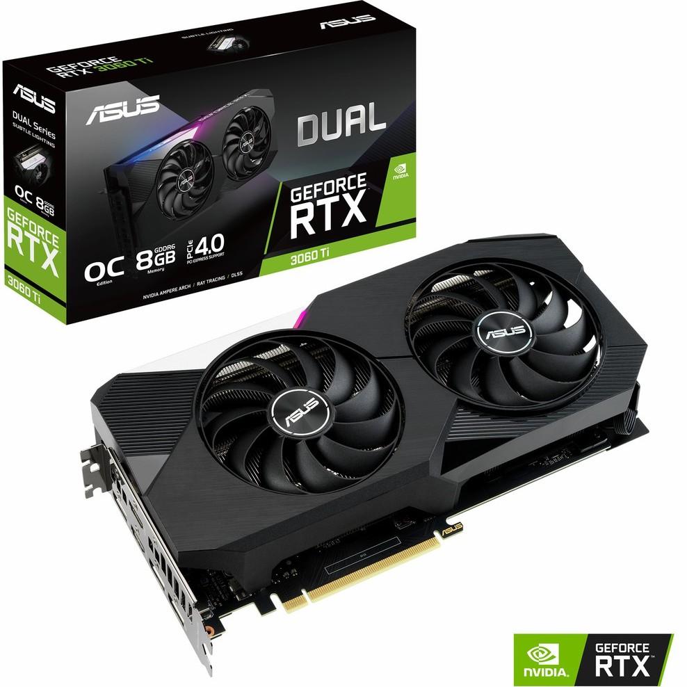 ASUS DUAL RTX3060TI O8G , Asus Dual GeForce RTX 3060 Ti OC Edition 8GB GDDR6 การ์ดแสดงผล การ์ดจอ กราฟฟิคการ์ด VGA Nvidia