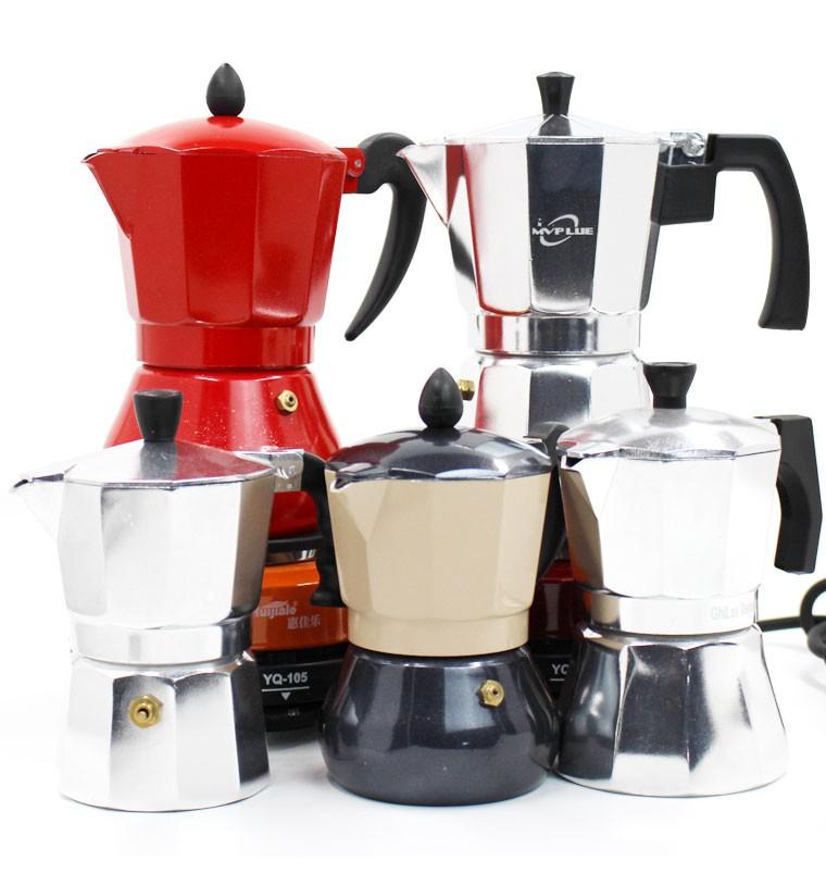 ♗ョเครื่องชงกาแฟมือหม้อกาแฟไฟฟ้าหม้อ Moka อิตาเลี่ยน Retro หม้อกาแฟทำอาหารในครัวเรือนแบบพกพาหม้อหยดน้ำเข้มข้นอิตาเลี่ยนเร