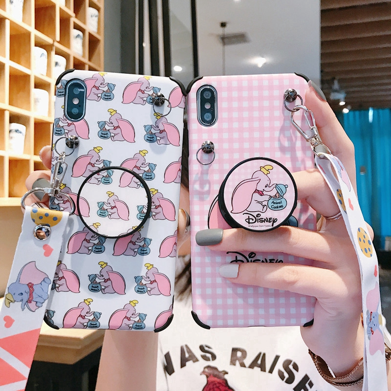Dumbo Soft Case IPhone X XS Max XR Stand Holder Cover IPhone 6 6S 7 8 Plus with La