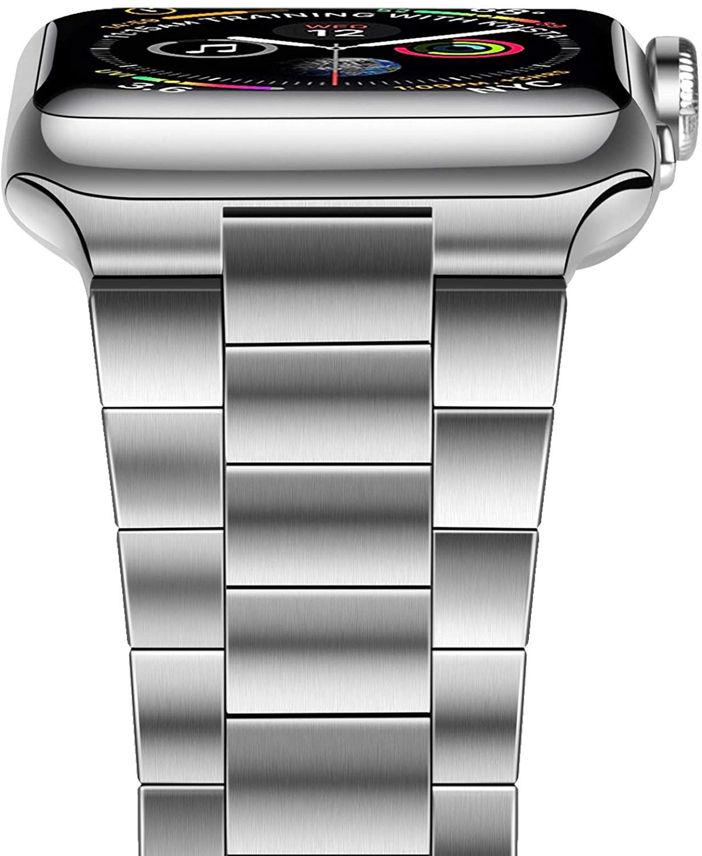 สายสแตนเลสสตีลแข็งสำหรับ Apple Watch, For Apple Watch Series 6/5/4/3/2/1/SE, Compatible with Apple Watch Band 42mm 44mm, Upgraded Version Solid Stainless Steel Band Business Replacement iWatch Strap for Apple Watch Series 6/5/4/3/2/1/SE