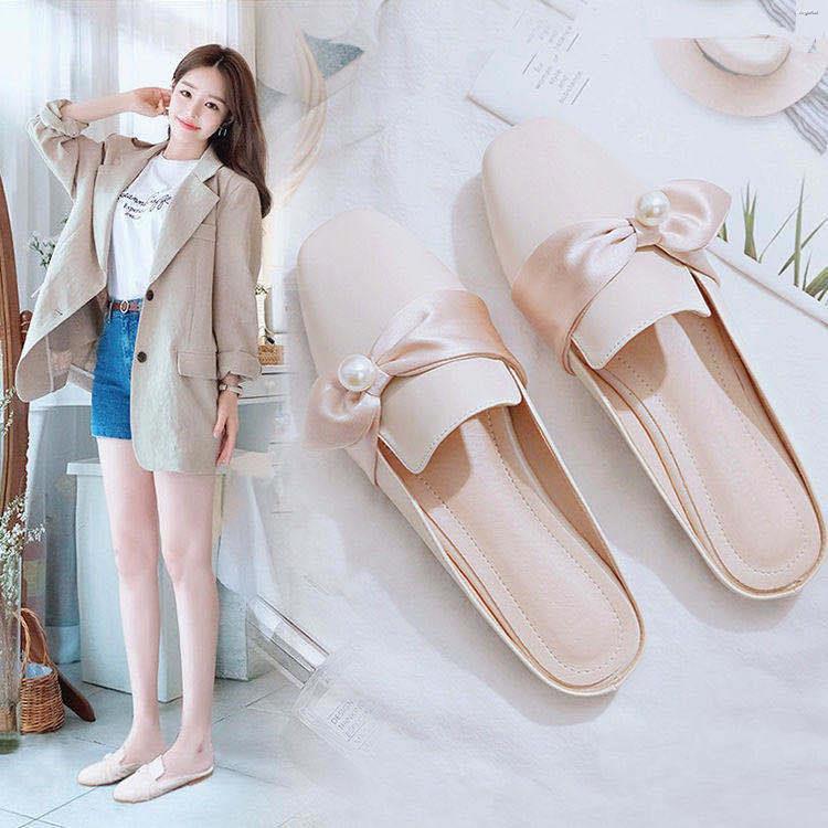 รองเท้าคัชชูแบบสวมเปิดส้น สไตล์เกาหลี คัชชูส้นแบนหัวแหลม รองเท้าแตะเปิดส้น รองเท้าส้นแบน รองเท้าแฟชั่น รองเท้าผู้หญิง