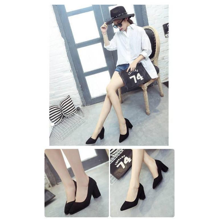 ❧◄✨✨ คัชชูหัวแหลมส้นสูงผู้หญิง รองเท้าส้นสูงแฟชั่นขายดี รองเท้าคัชชูส้นสูง 3 นิ้ว สีเทา / สีดำ สีแดง