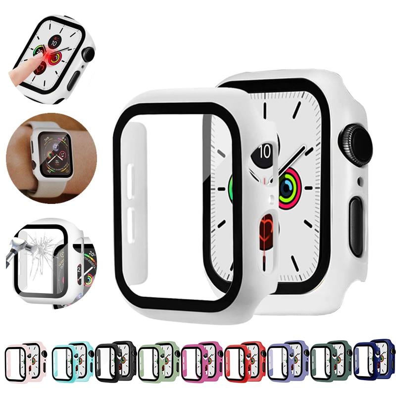 กระจกนาฬิกาข้อมือ + เคสกระจก + ฟิล์มกันรอยหน้าจอสําหรับ Apple Watch Serie 6 5 4 3 Se 44mm 40mm Iwatch Case 42mm 38mm