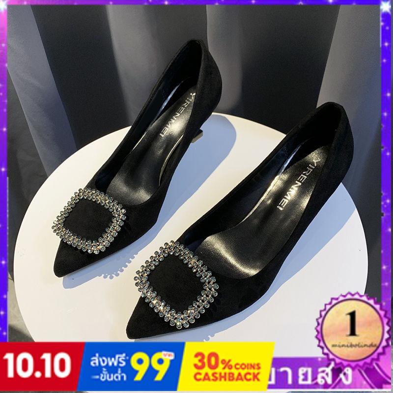 ⭐👠รองเท้าส้นสูง หัวแหลม ส้นเข็ม ใส่สบาย New Fshion รองเท้าคัชชูหัวแหลม  รองเท้าแฟชั่นรองเท้าส้นสูงของผู้หญิงที่จัดเลี้ยง