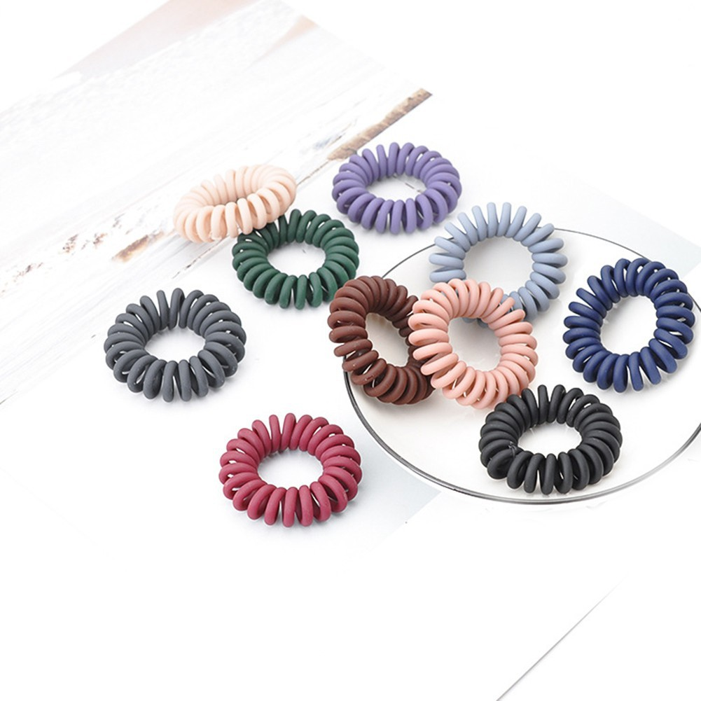 5PC Spiral Elastic Rubber Hair Ties Band Rope Ponytail Holder Spiral Accessories