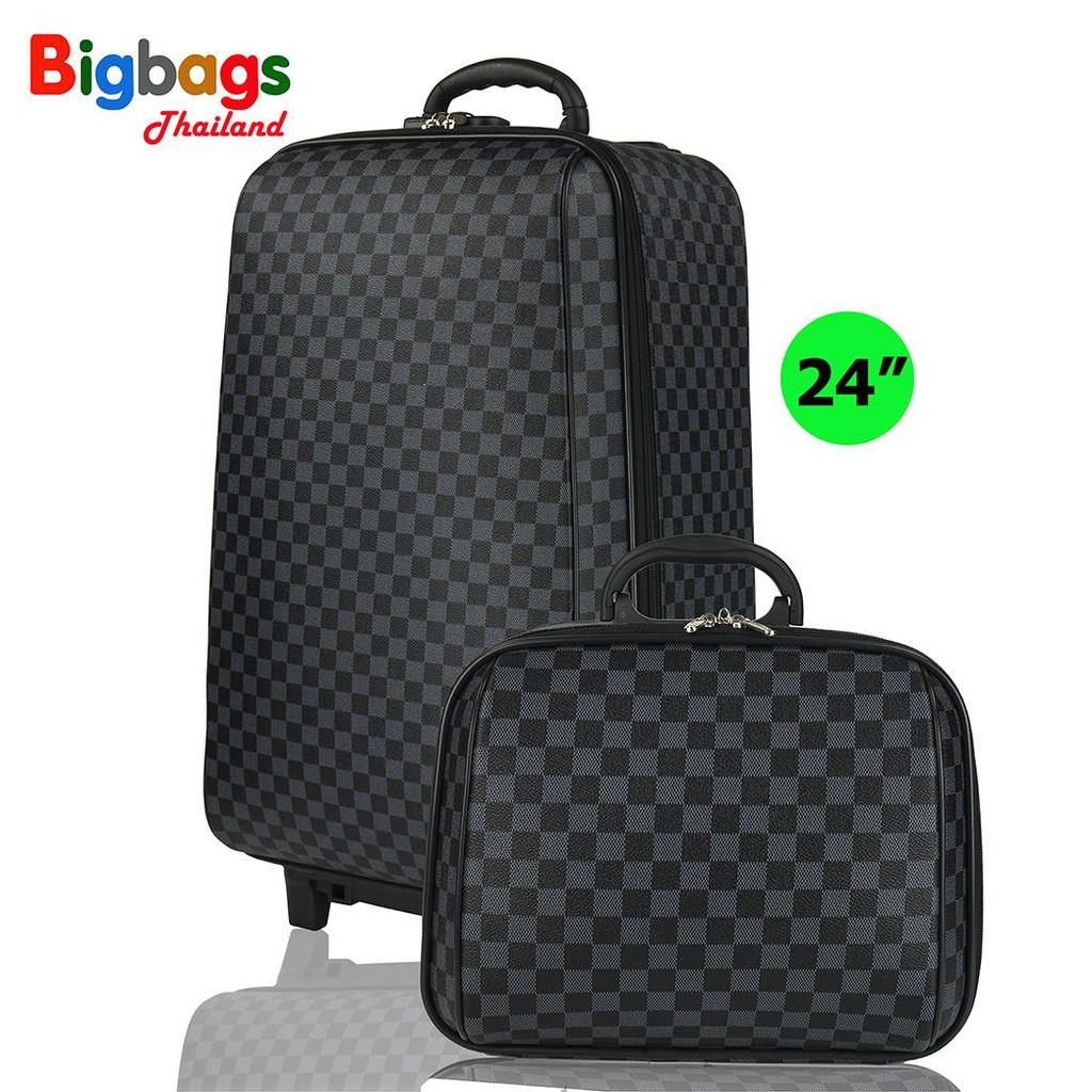 ☂▽✐BigbagsThailand กระเป๋าเดินทาง ล้อลาก MZ Polo  4 ล้อคู่หลัง เซ็ทคู่ 24นิ้ว/14 นิ้ว รุ่น New luxury 99224 (Grey Black)