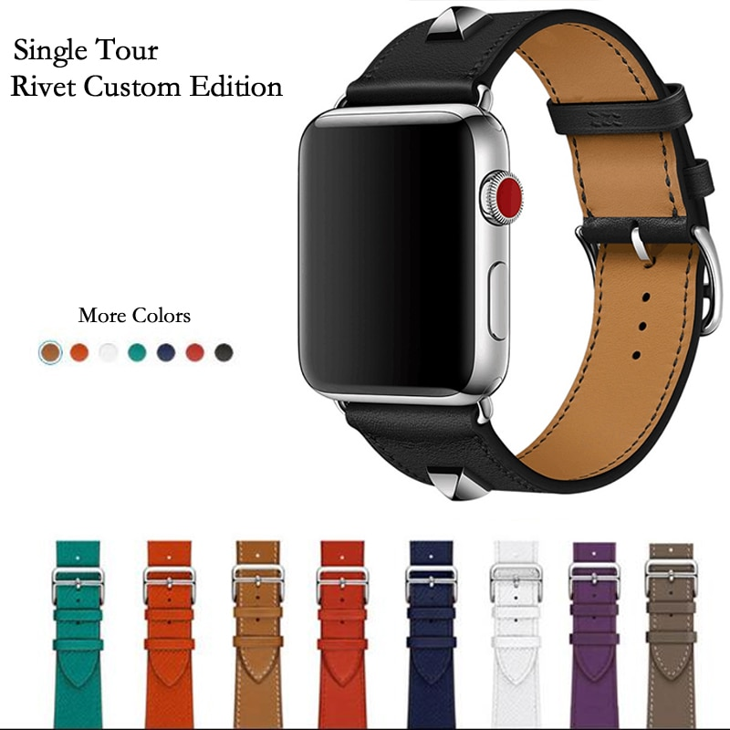 COD40mm 44mm Newest Genuine Leather Rivet Custom Edition Single Tour Watch band Strap For herm Apple Watch Series 5 4 1
