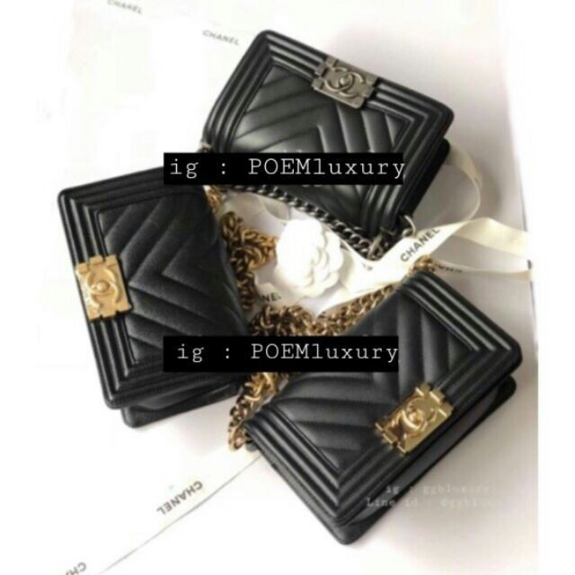 แท้】Chanel Boy8 black caviar GHW ซีซันล่าสุด full set price : 149,900฿