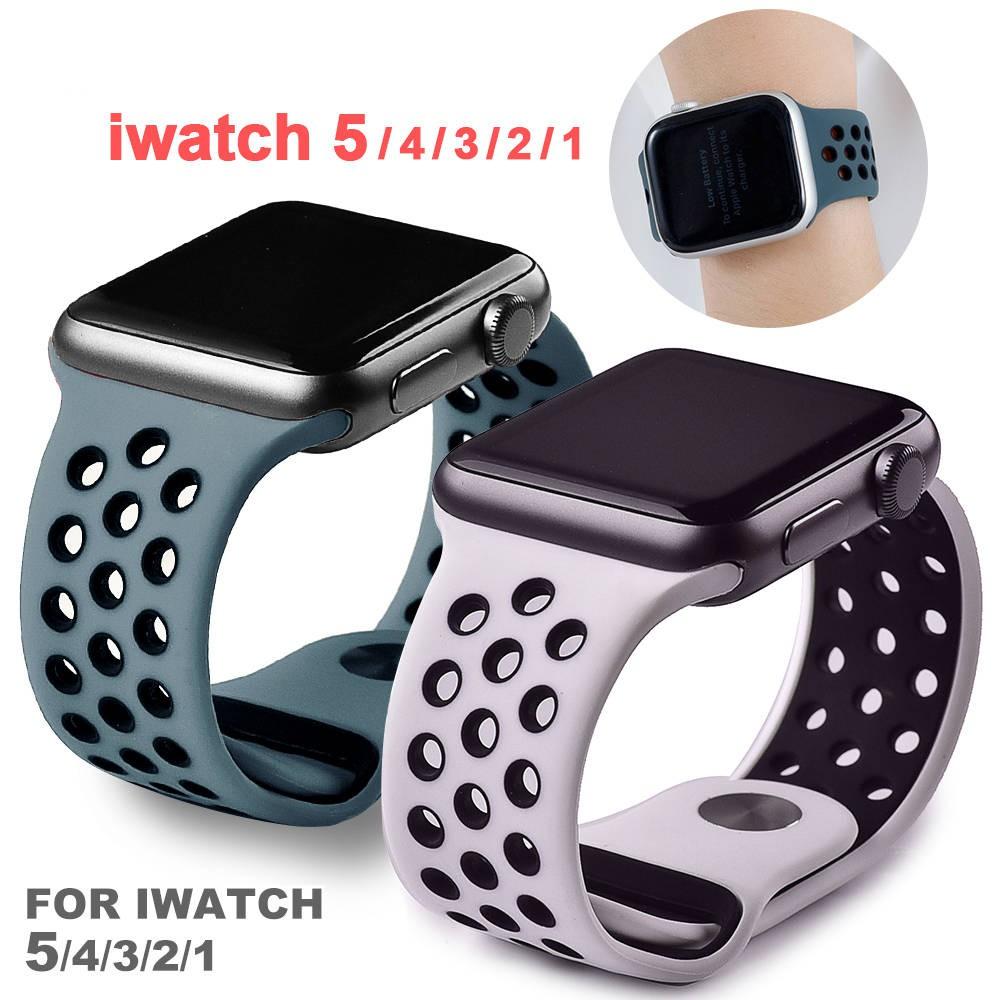 สายแอปเปิ้ลวอช สาย applewatch Apple Watch Strap Apple ดูสายรัดข้อมือ 5/2/3 Nike ซิลิกากาวสองสี 38/40/42/44 มม