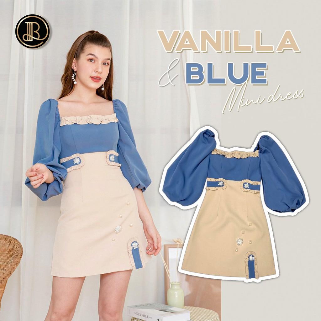VANILLA BLUE : BLT BRAND : มินิเดรสสีฟ้าครีม