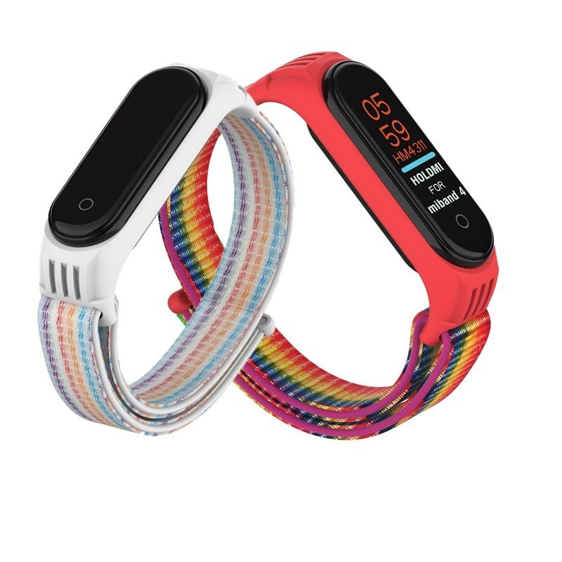 ใหม่ไนลอนซิลิโคนสร้อยข้อมือกีฬาสำหรับ Xiao Mi Mi Band 5 3 4 สายรัดข้อมือสำหรับ Xiao Mi Mi Band สร้อยข้อมือ ห่วง Applewatch นาฬิกาโทรศัพท์ สายรัด