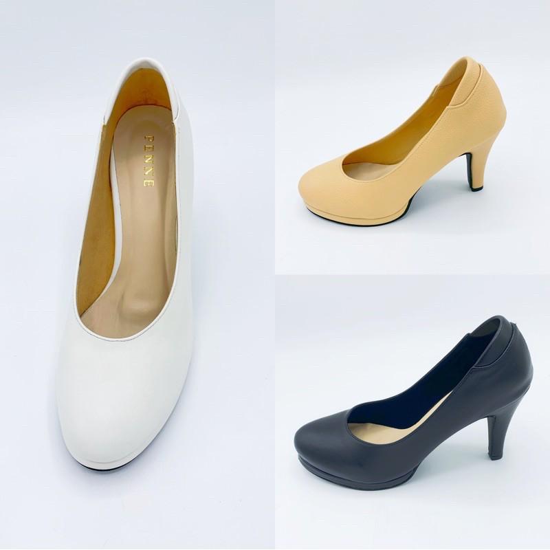 Penne เพนเน รองเท้าผู้หญิงคัชชูส้นสูงหัวมนเสริมหน้า สีครีมและสีดำ ไซส์35-40 สินค้าพร้อมส่ง!
