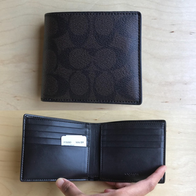 Coach #F75083 กระเป๋าสตางค์ใบสั้น  แบบบาง มีช่องใส่บัตรเยอะ
