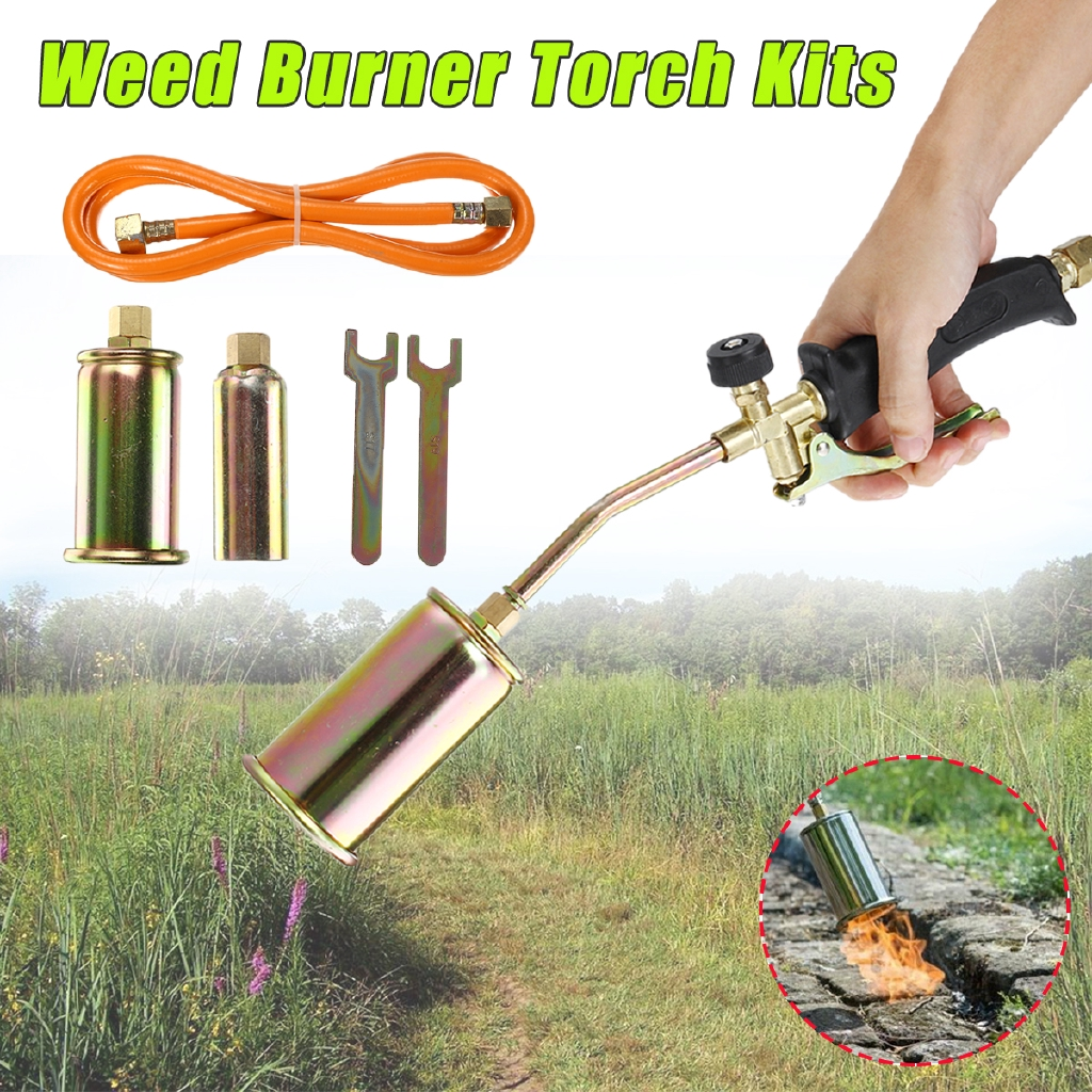 Propane Torch Burner with 3 Nozzles and Hose Ice Snow Melting Portable Propane Weed Torch Burner