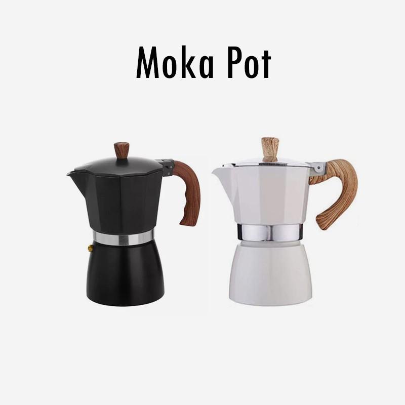 เครื่องทำกาแฟ Moka pot ด้ามไม้
