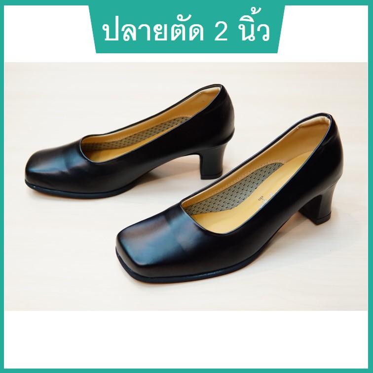 รองเท้าคัชชูปลายตัด รองเท้านักศึกษาหญิง รองเท้าคัทชูหญิง รองเท้าใส่ทำงานหญิงสีดำ หนังนิ่ม สูง 2 นิ้ว ไซส์ 36-40 TRIPPER