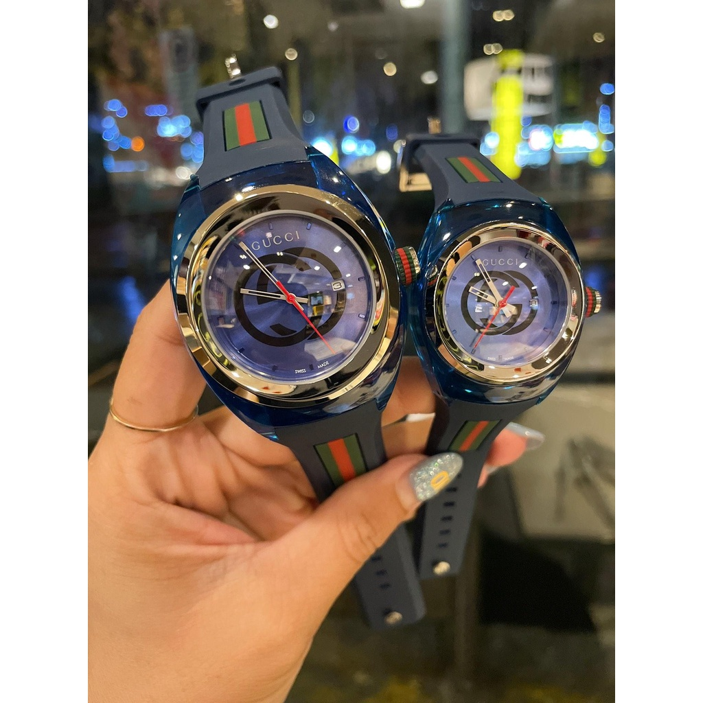 0 Gucci Gucci SYNC couple models transparent quartz watch, elegant style, 36 mm for women and 46 mm for men. The colorfu