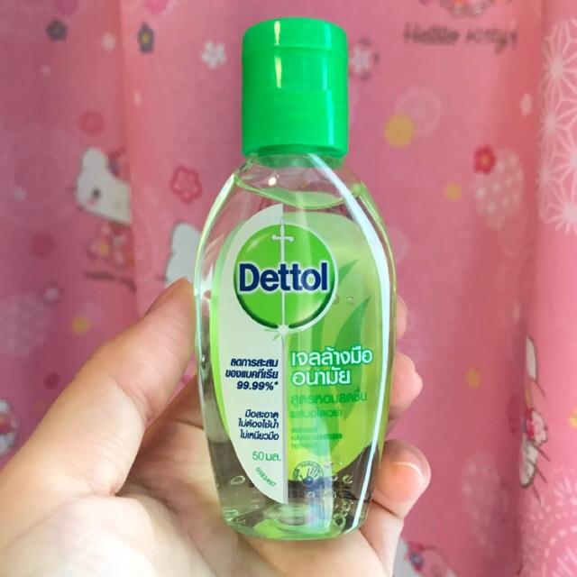 ( 3 ขวด ) Dettol เดทตอล เจลล้างมืออนามัย ลดการสะสมของแบคทีเรีย แบบไม่ใช้น้ำล้าง 50ml.