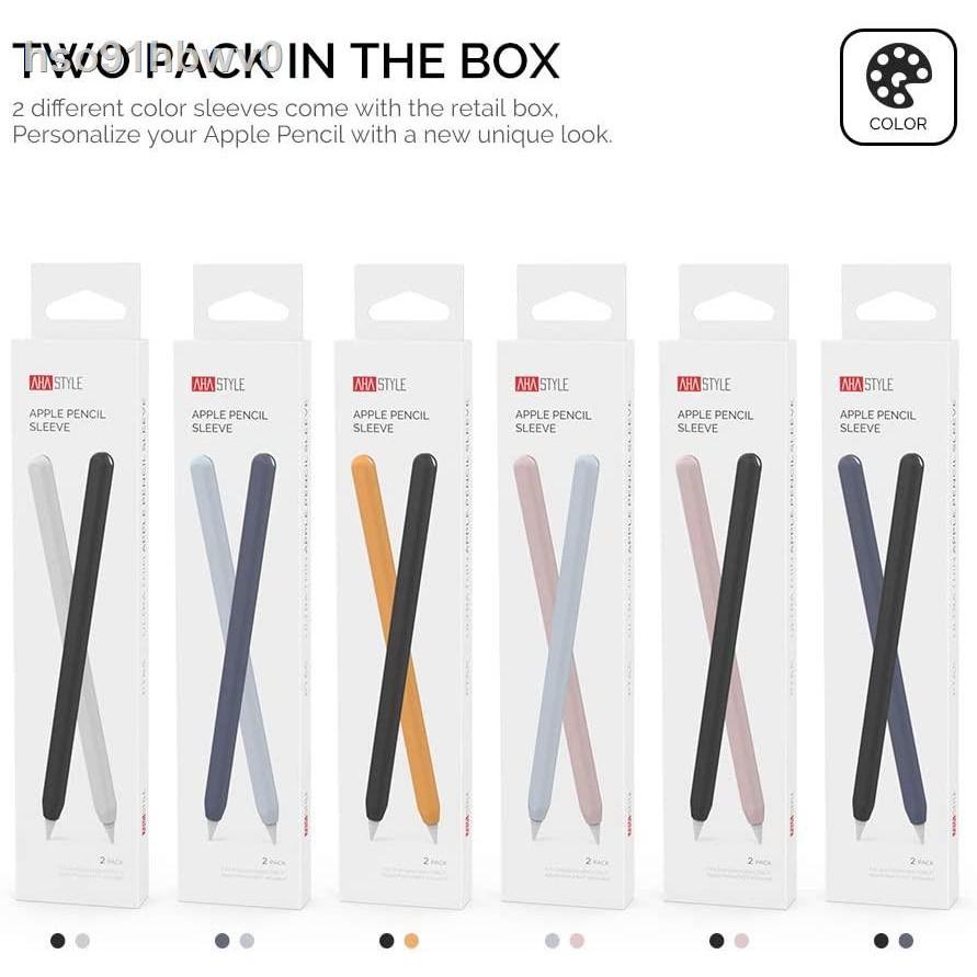 💧กล่องดินสอแอปเปิ้ลนุ่ม เคสซิลิโคน สำหรับปากกา Apple Pencil, 2 Pcs Ultra Thin Case Silicone Skin Cover Compatible with