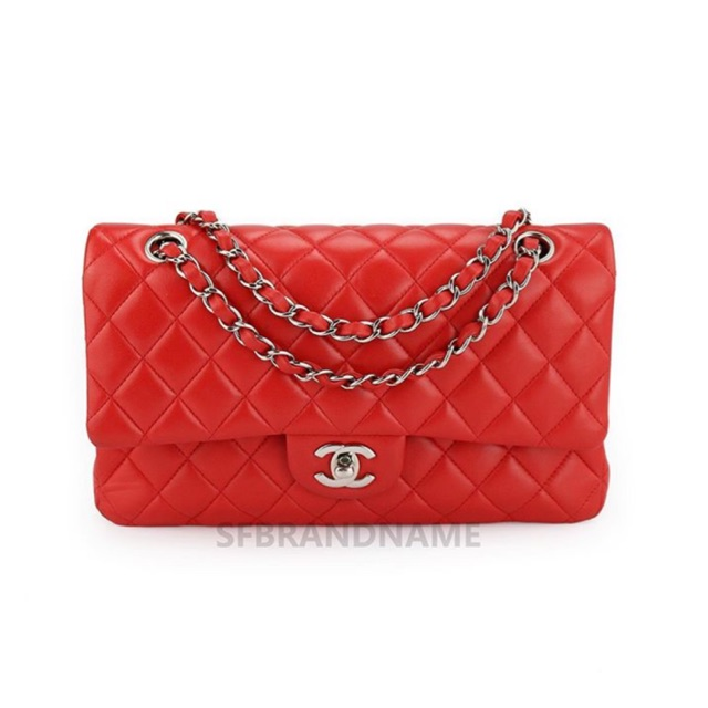 #005033 Chanel Classic Lamb SHW Red Size10 Holo22 ปี2016