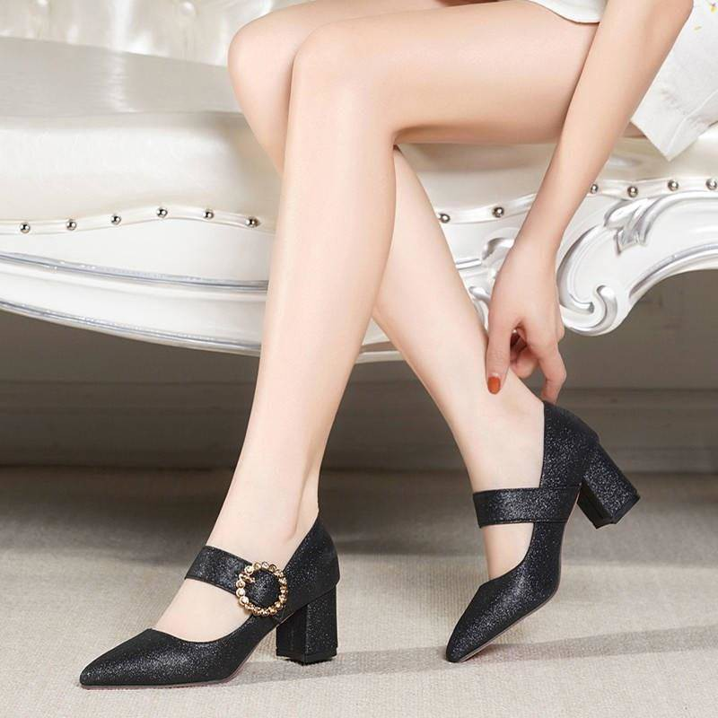 รองเท้าคัชชู ร้องเท้า รองเท้าผู้หญิง ❣รองเท้าหนังขนาดเล็กหญิงอังกฤษ 2019 ใหม่ฤดูใบไม้ผลิฤดูใบไม้ผลิรุ่นสีดำในรองเท้าเพลง