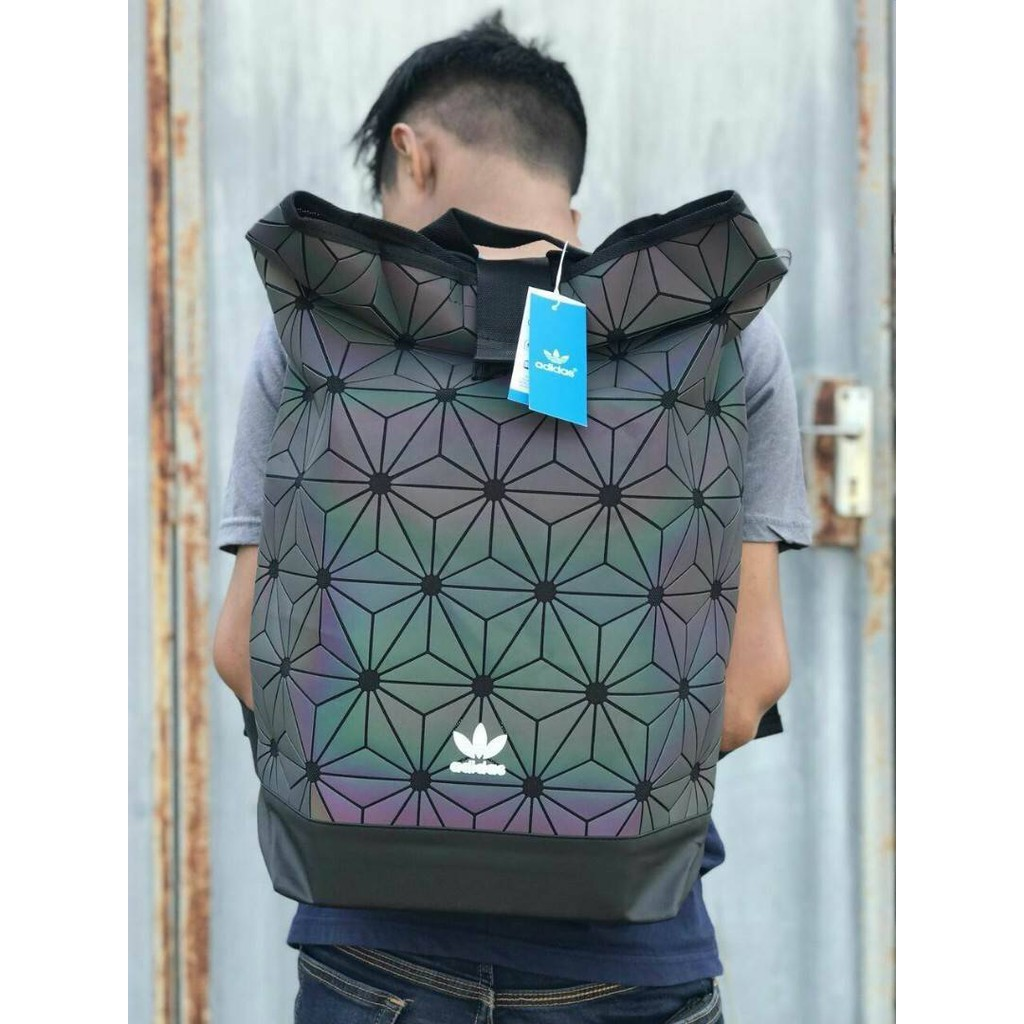 Don't Miss! Adidas 3D Roll Top Backpack FACTORY OUTLET Y2018 กระเป๋าเป้ Unisex