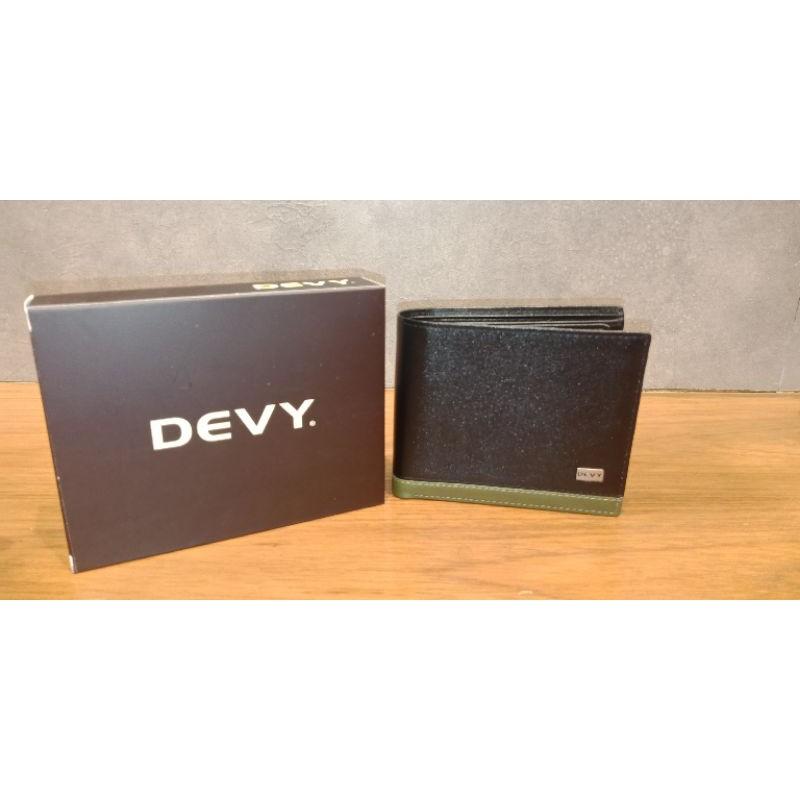 DEVY กระเป๋าสตางค์ สีดำ ขอบล่างเขียวอ่อน 3พับ พร้อมกล่องใส่