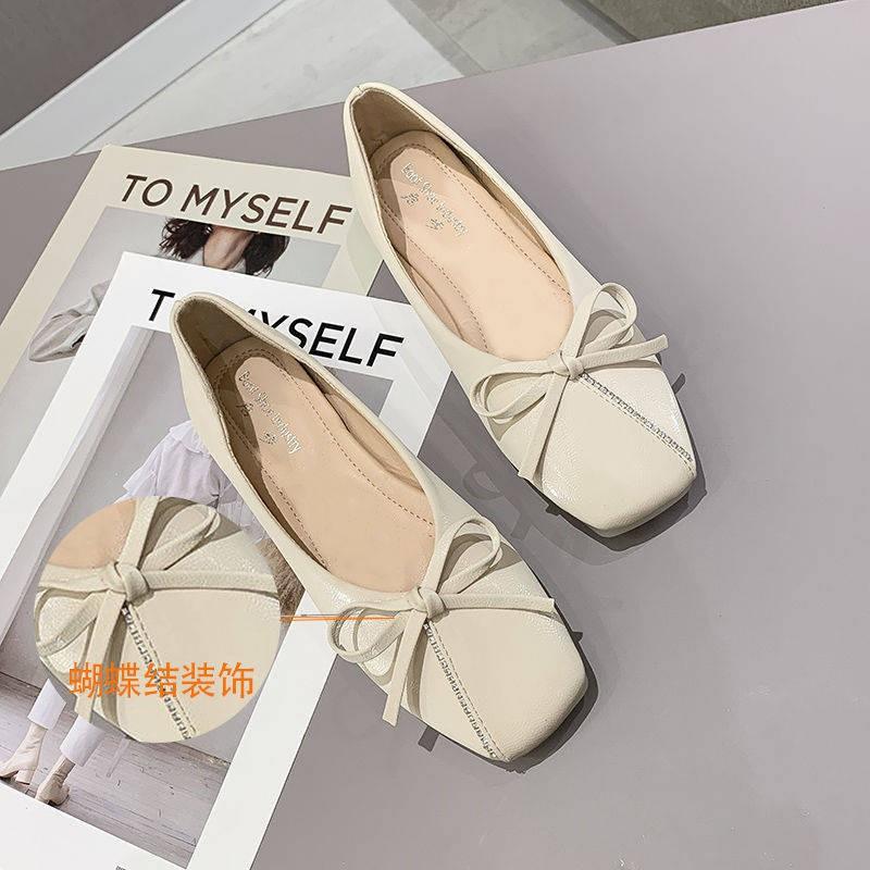 รองเท้าผู้หญิง ร้องเท้า รองเท้าคัชชู ✌รองเท้าหนัง Hawear หญิง 2021 ฤดูใบไม้ผลิอังกฤษรองเท้าแบนสีดำผิวนุ่มเท้ารองเท้าเล็บ
