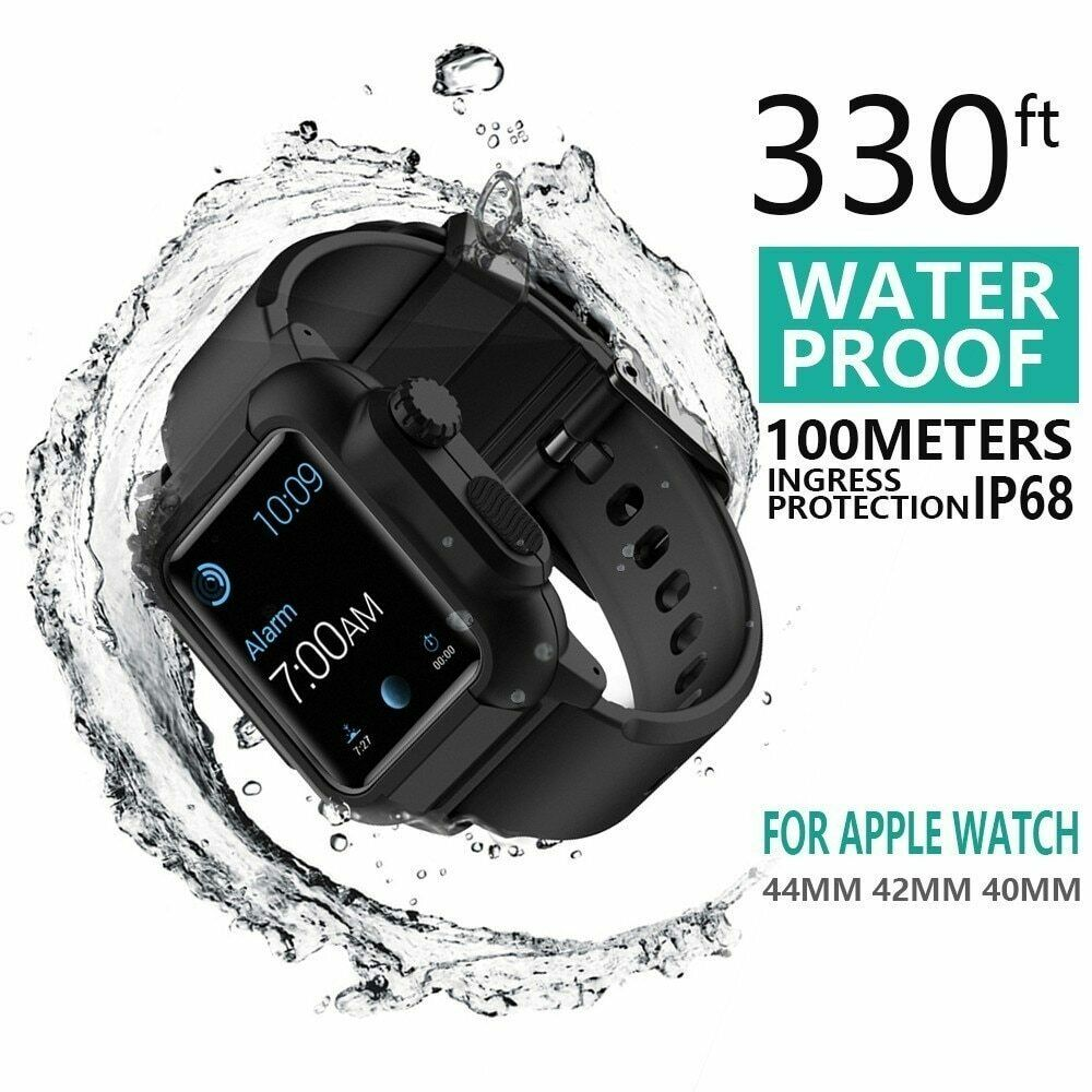 Waterproof case For Apple Watch band 4 iwatch bands 42mm Silicone Strap 44mm