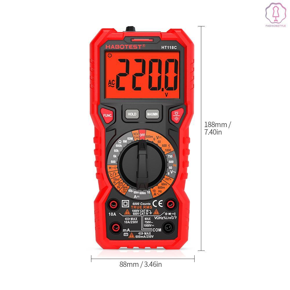 เครื่องทดสอบความถี่ไฟฟ้าดิจิตอลมัลติมิเตอร์ ht 118 c 6000 counts true rms