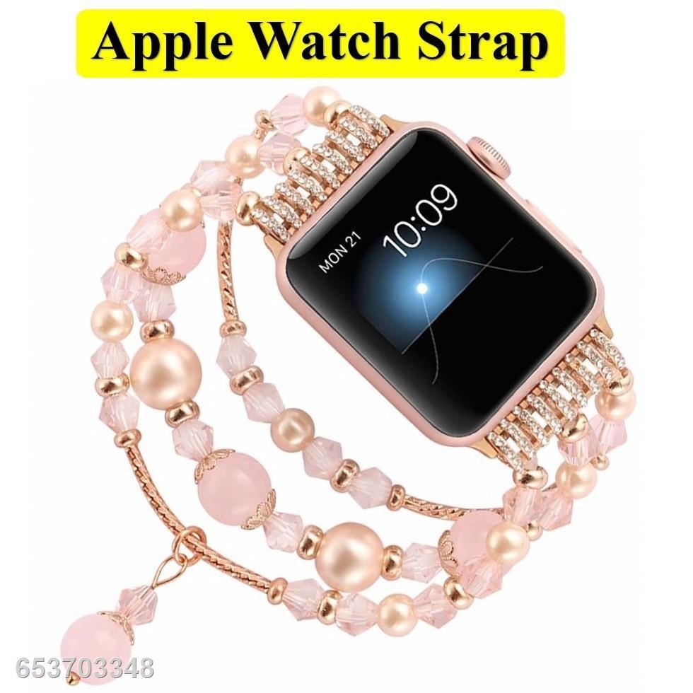 ۞✟หรูหรา สายนาฬิกา Apple Watch ทำด้วยมือ ลูกปัด สาย Applewatch Series 1/2/3/4/5/6 / SE Size 38มม.40มม 42มม.44มม สายนาฬิ