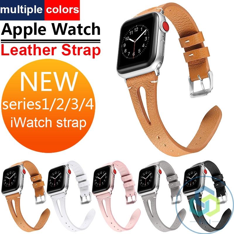 AppleWatch สายคล้อง Applewatch Series1234 สีทึบสายหนัง IWatch ของแท้หนัง