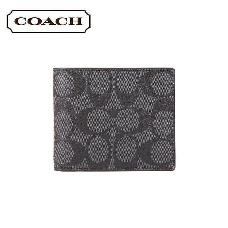 กระเป๋าสตางค์ใบสั้น♂COACH Men s new fashion classic C ลายพิมพ์กระเป๋าสตางค์สั้นพับครึ่ง 74993 25519