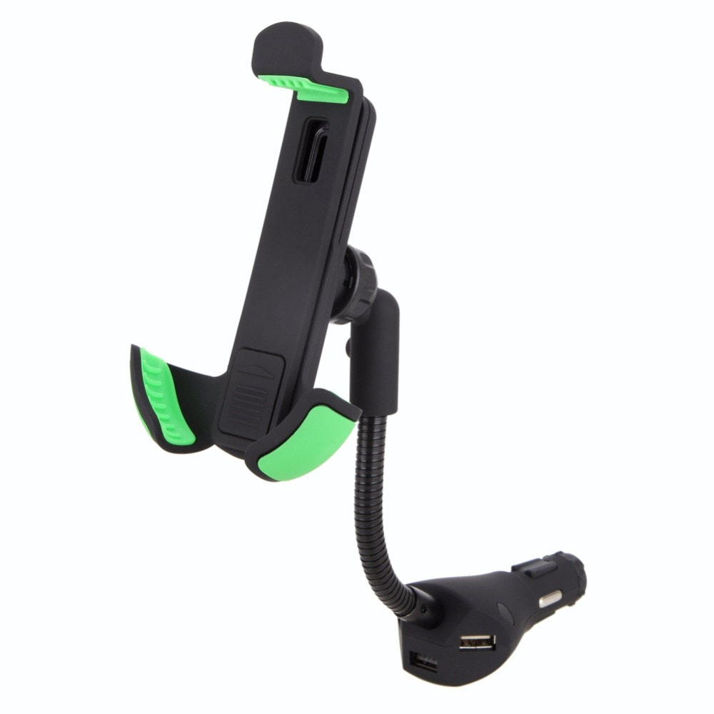 please COD Car Phone Holder Stand with 3 USB Port Quick Car-Charger Cigarette Lighter Flexible Gooseneck Support Mount f