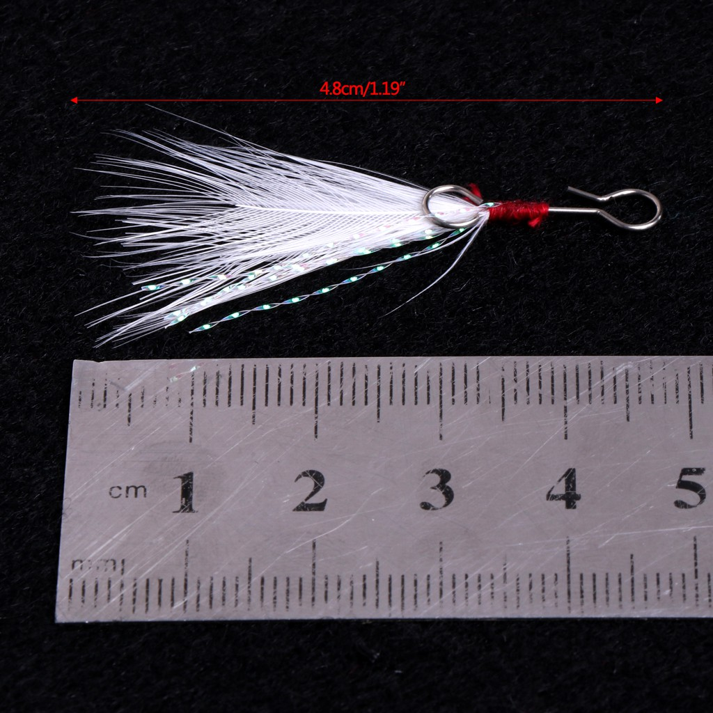 10pcs Fishing Hooks with feather for Minnow Fishing lures Crankbaits Tackle