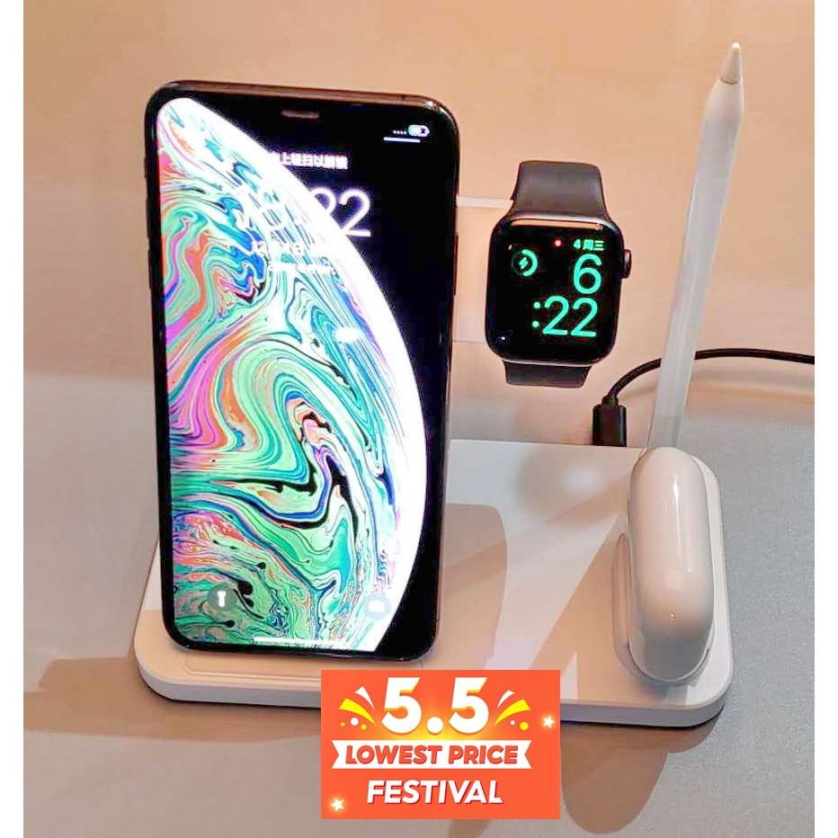 อุปกรณ์ชาร์จ แท่นชาร์จไร้สาย แบบชาร์จเร็ว 4 in 1 wireless charger สำหรับ iPhone AirPods AppleWatch and ApplePencil