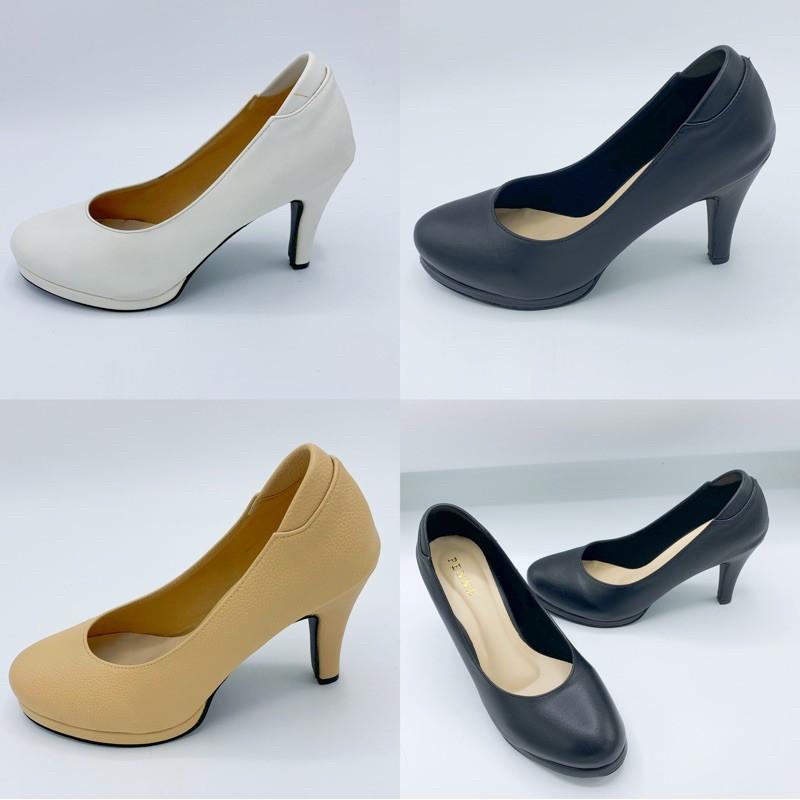 Penne/Dosika YA88029 รองเท้าคัชชูส้นสูงทรงหัวมน รองเท้าคัชชูผู้หญิง ส้นแหลม เสริมหน้า สีครีม/ดำ/ขาว ไซส์35-40