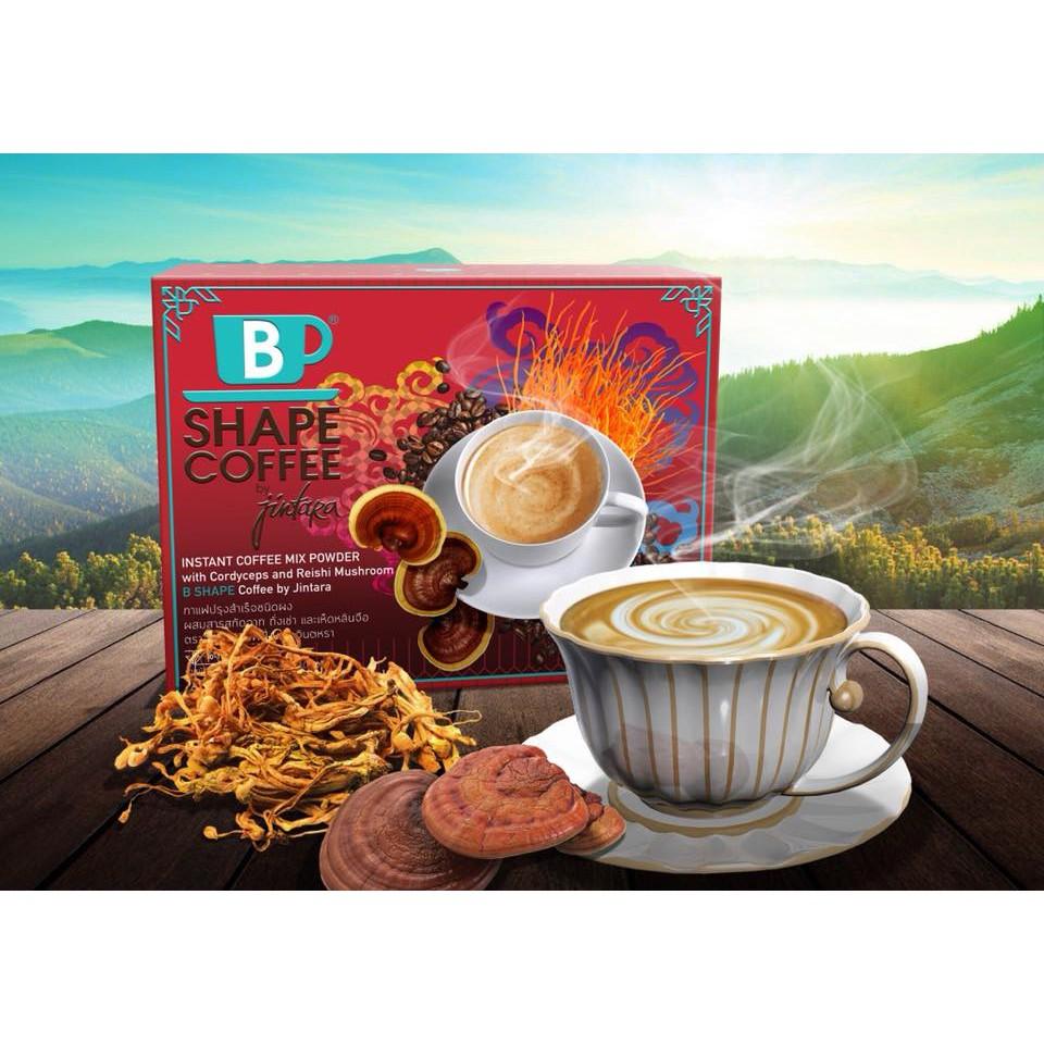 B Shape Coffee With Cordyceps and Reishi Mushroom บีเชฟ กาแฟผสมถังเช่าและเห็ดหลินจือ บาย จินตหรา (1กล่อง 10ซอง)