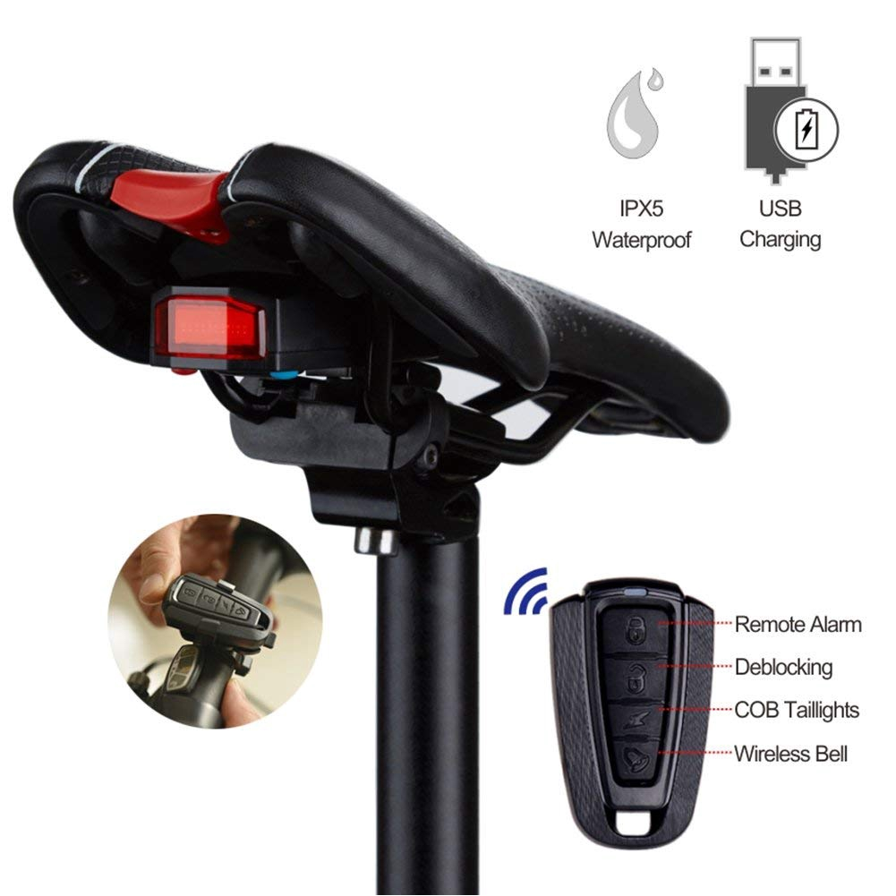 Bicycle Taillight Wireless Smart Bike Light Burglar Alarm Safety Lamp Waterproof