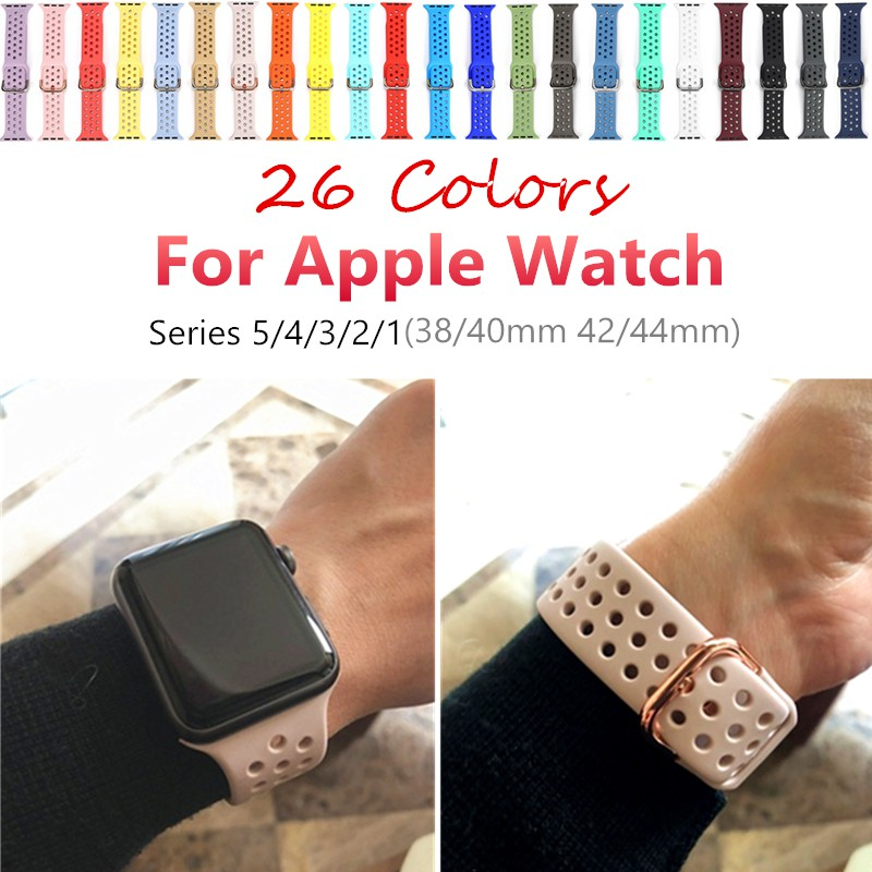 Soft Silicone Strap for Apple Watch Band series 1 2 3 4 5 Sport Breathable Silicone Double Color Belt for iwatch 38 40 42 44 mm