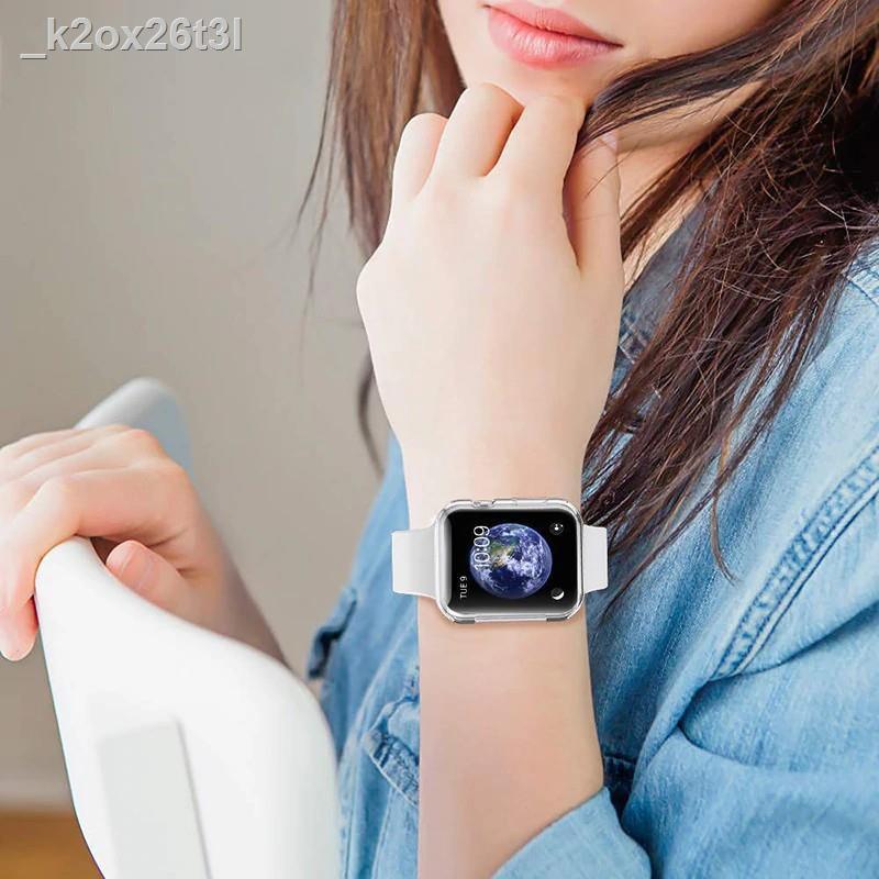 เคสและซองมือถือ♈เคส สำหรับ AppleWatch case SE ขนาด 38 มม. 40 42 44 ซิลิโคนอ่อนนุ่มหุ้มใสสำหรับ iWatchSeries 6/5/4/3/2/1