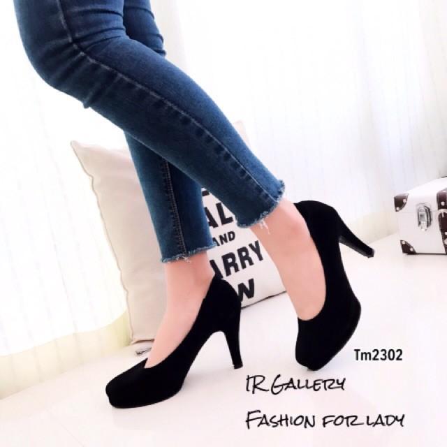 รองเท้าคัชชู รองเท้าส้นสูง รองเท้าผู้หญิง  รองเท้าส้นสูง เสริมหน้า ใส่เรียนใส่ทำงาน รองเท้าพื้นนิ่มหนังนิ่มใส่สบาย