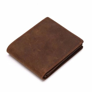Review Genuine Crazy Horse Cowhide Leather Men Wallet Short Coin Purse Small Vintage Wallet Brand High Quality Vintage Designer