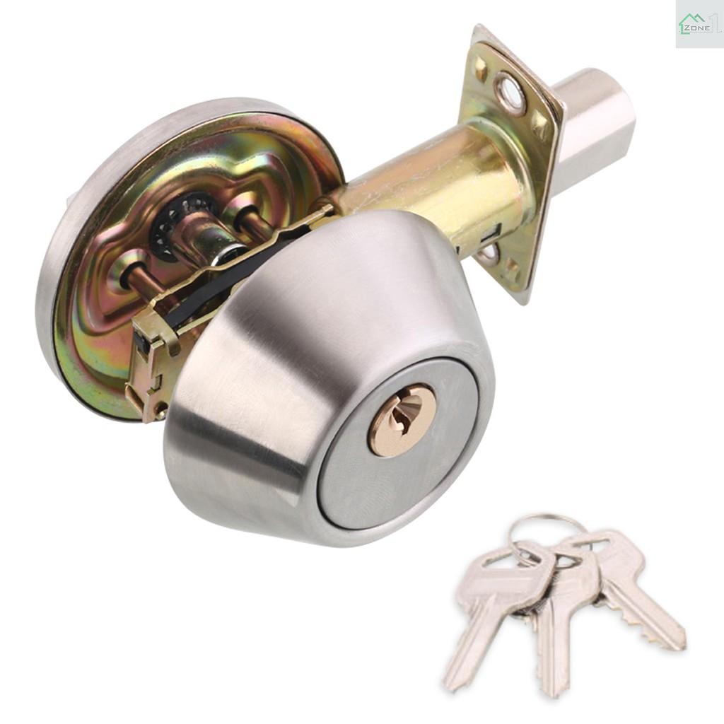 Zone  Door Knob Lockset with 3 Keys Privacy Handle Bedroom Bathroom Handle Lockset Stainless Steel Polished Door Knob Set Interior Lockable Door Handle