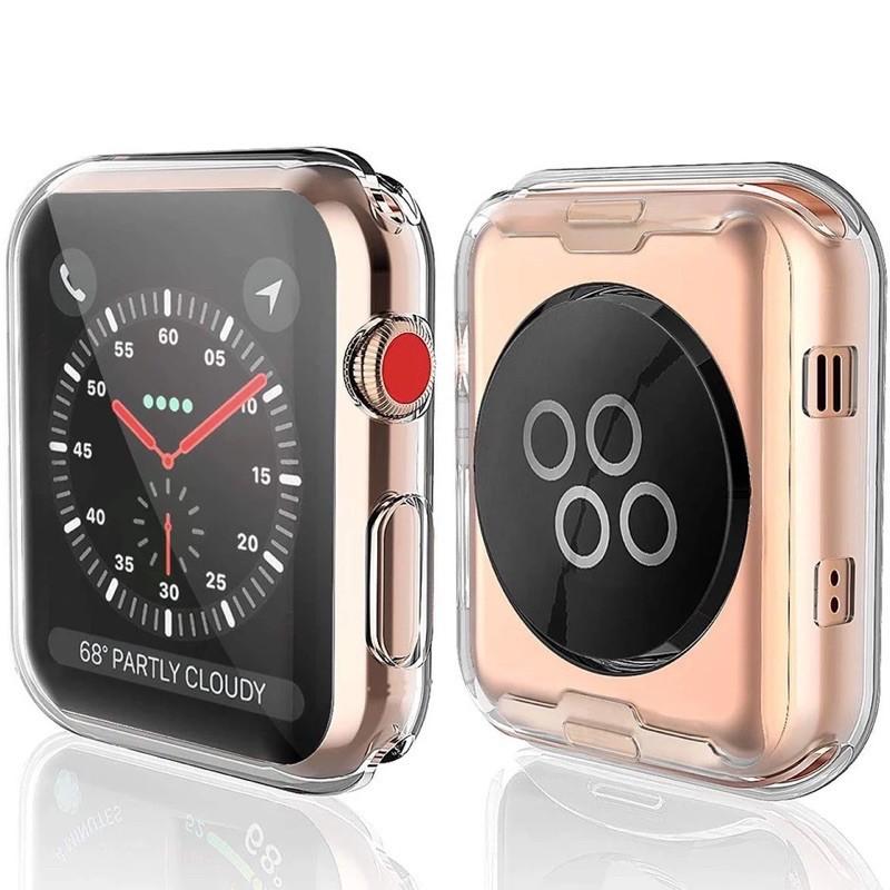 ♝☽✖【NXTH】 เคส สำหรับ AppleWatch case ขนาด 38 มม. 40 42 44 ซิลิโคนอ่อนนุ่มหุ้มใสสำหรับ iWatchSeries 6/5/4/3/2/1