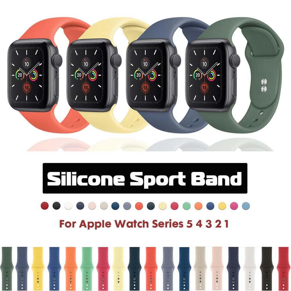 สายนาฬิกาข้อมือซิลิโคนสําหรับ Apple Watch Band 38/42/40/44มม. Series 5/4/3/2/1