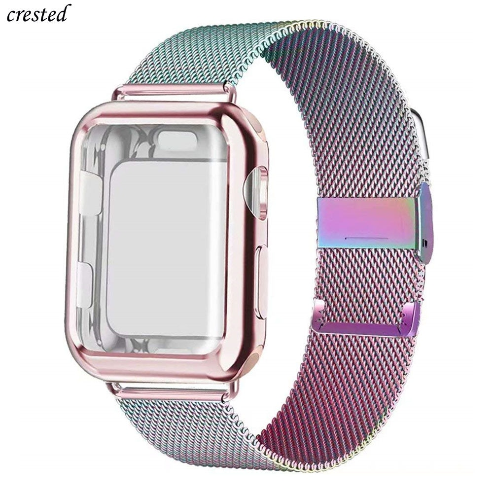 Case+Band for Apple Watch SE strap 44mm 40mm iWatch band 38mm 42mm Metal Milanese Loop bracelet Apple watch series 6 5 4