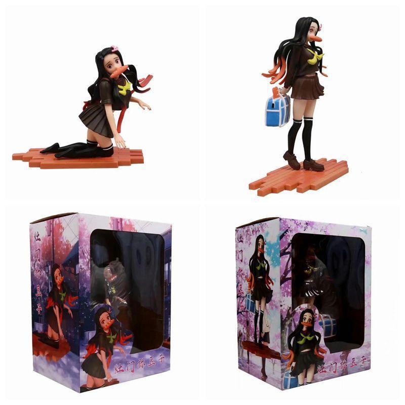(In Stock)Demon Slayer Kimetsu no Yaiba Nezuko Kamado School Uniforms PVC Action Figure Anime Sexy Girl Figure Model Toy