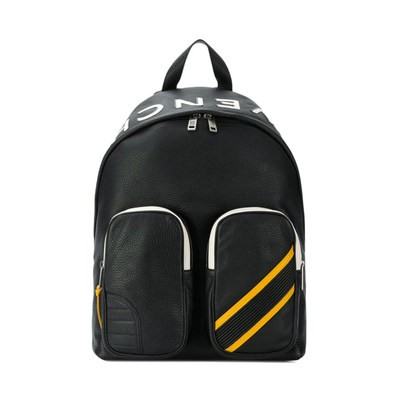 ♓ℍGivenchy Givenchy กระเป๋าเป้สะพายหลังหนังสีดำสำหรับผู้ชายใส่ได้กับทุกชุดกระเป๋าเดินทางมีซิปความจุมากกระเป๋าผู้ชาย