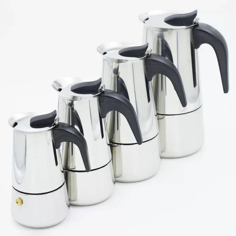 กาต้มกาแฟสดแบบพกพาสแตนเลส ขนาด 6 ถ้วยเล็ก 300 มล. หม้อต้มกาแฟแบบแรงดัน เครื่องทำกาแฟสด 300ml